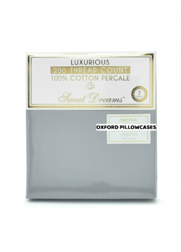 Hotel Quality Luxury 200 Thread Count 100% Pure Cotton Percale Oxford, Pair of Pillowcases, Grey
